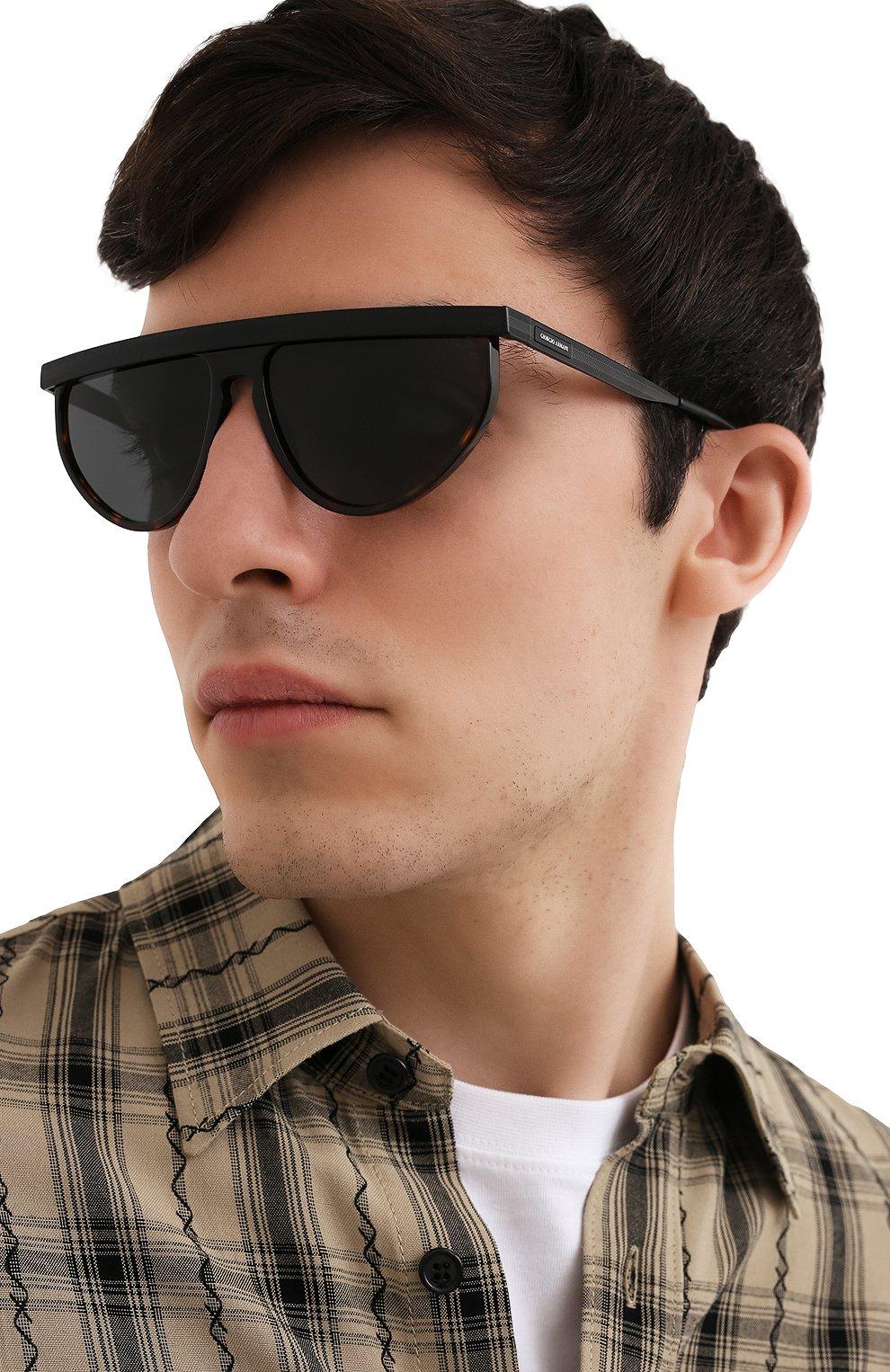 Мужские солнцезащитные очки GIORGIO ARMANI темно-коричневого цвета, арт. AR6117   Фото 2
