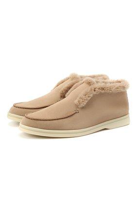 Женские замшевые ботинки LORO PIANA бежевого цвета, арт. FAG3602 | Фото 1