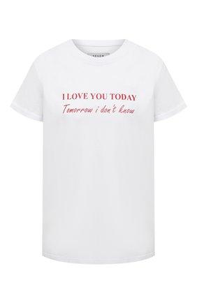 Женская хлопковая футболка SEVEN LAB белого цвета, арт. T20-ILYT-F046 white   Фото 1