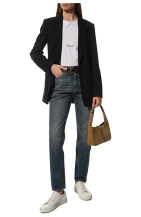 Женские кожаные кеды malibu SAINT LAURENT белого цвета, арт. 649253/00NG0 | Фото 2
