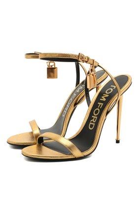 Женские кожаные босоножки padlock TOM FORD золотого цвета, арт. W2436T-LSP014 | Фото 1
