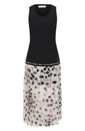Женское платье из хлопка и шелка VALENTINO черно-белого цвета, арт. VB3MJ02Y683 | Фото 1
