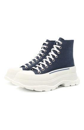 Женские текстильные ботинки tread slick ALEXANDER MCQUEEN синего цвета, арт. 611706/W4PD1 | Фото 1