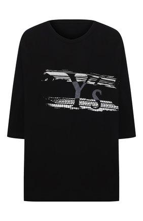 Женская хлопковая футболка Y`S черного цвета, арт. YT-T02-670   Фото 1