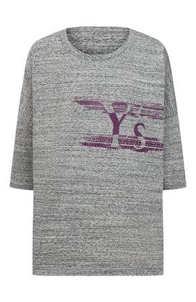 Женская хлопковая футболка Y`S серого цвета, арт. YT-T02-670   Фото 1