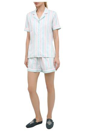 Женская хлопковая пижама DEREK ROSE светло-зеленого цвета, арт. 2024-MILL009 | Фото 1