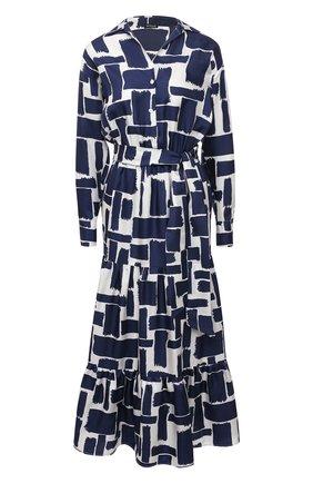 Женское шелковое платье KITON синего цвета, арт. D50302K09T43 | Фото 1