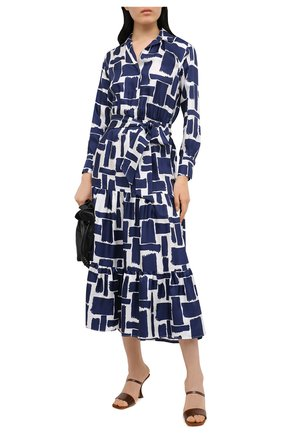 Женское шелковое платье KITON синего цвета, арт. D50302K09T43 | Фото 2