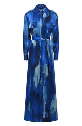 Женское шелковое платье KITON синего цвета, арт. D47321K09T47 | Фото 1