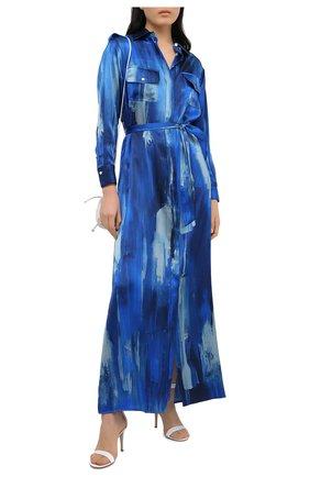 Женское шелковое платье KITON синего цвета, арт. D47321K09T47 | Фото 2
