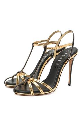 Женские кожаные босоножки jeannie 100 CASADEI золотого цвета, арт. 1L752S1001T0254A789 | Фото 1