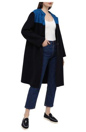 Женские замшевые лоферы LORO PIANA темно-синего цвета, арт. FAL5899 | Фото 2