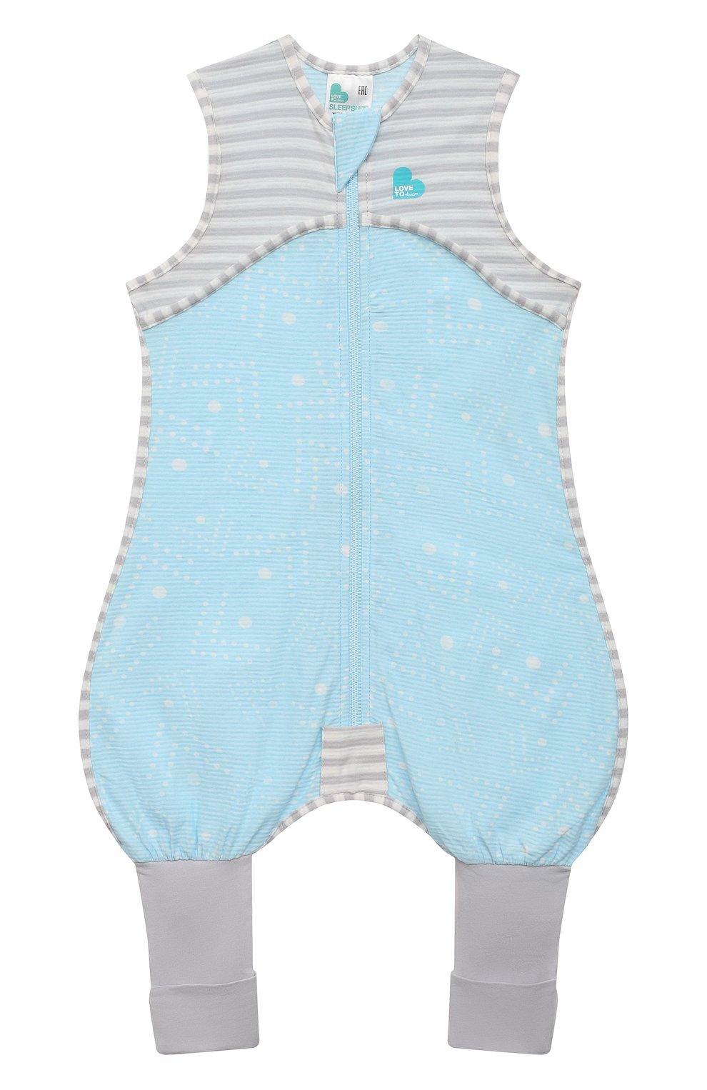 Детский хлопковый комбинезон LOVE TO DREAM голубого цвета, арт. L40 16 088 BLU 6M | Фото 1 (Рукава: Короткие; Материал внешний: Хлопок; Ростовка одежда: 6 мес | 68 см)
