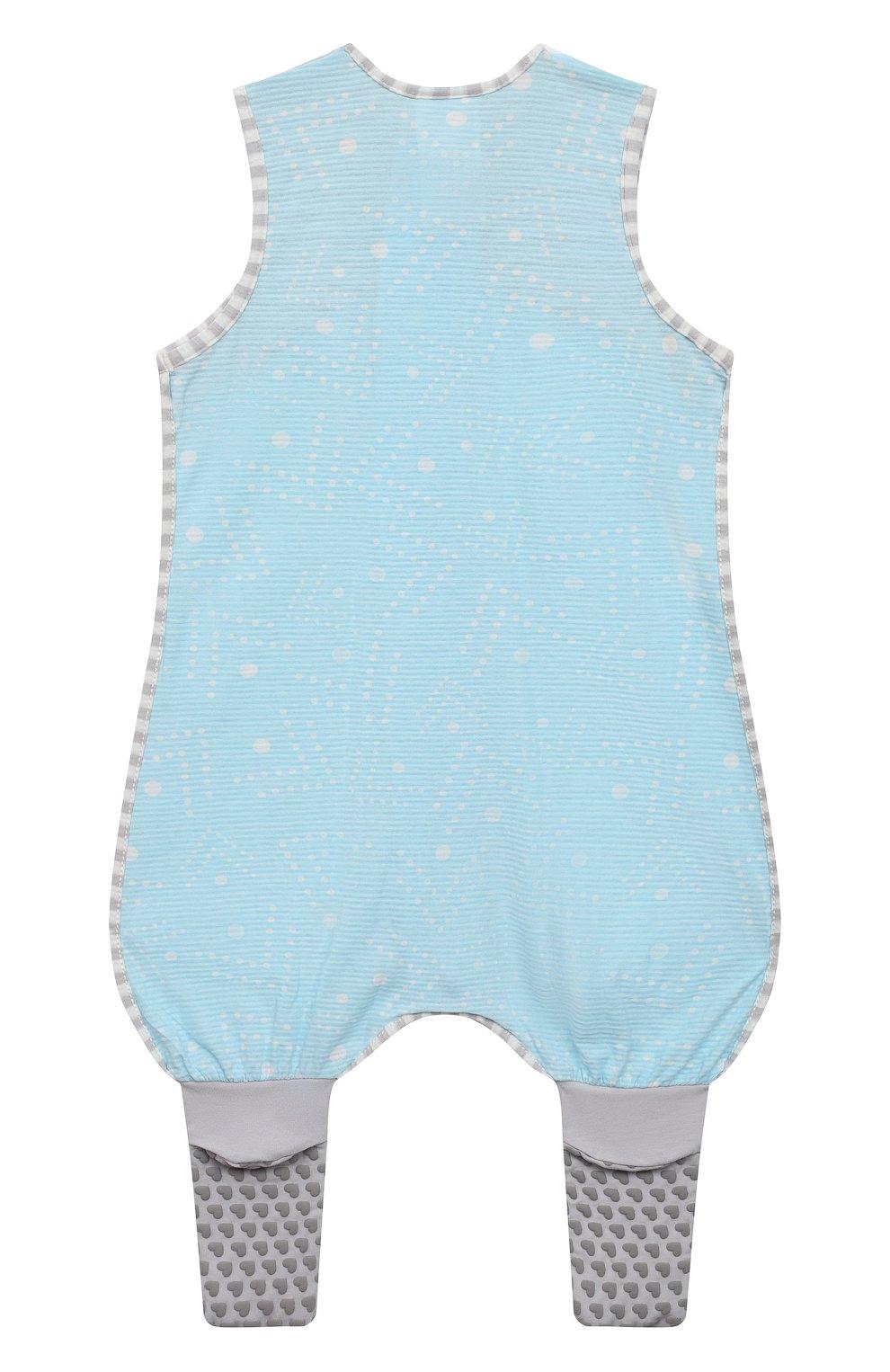 Детский хлопковый комбинезон LOVE TO DREAM голубого цвета, арт. L40 16 088 BLU 6M | Фото 2 (Рукава: Короткие; Материал внешний: Хлопок; Ростовка одежда: 6 мес | 68 см)