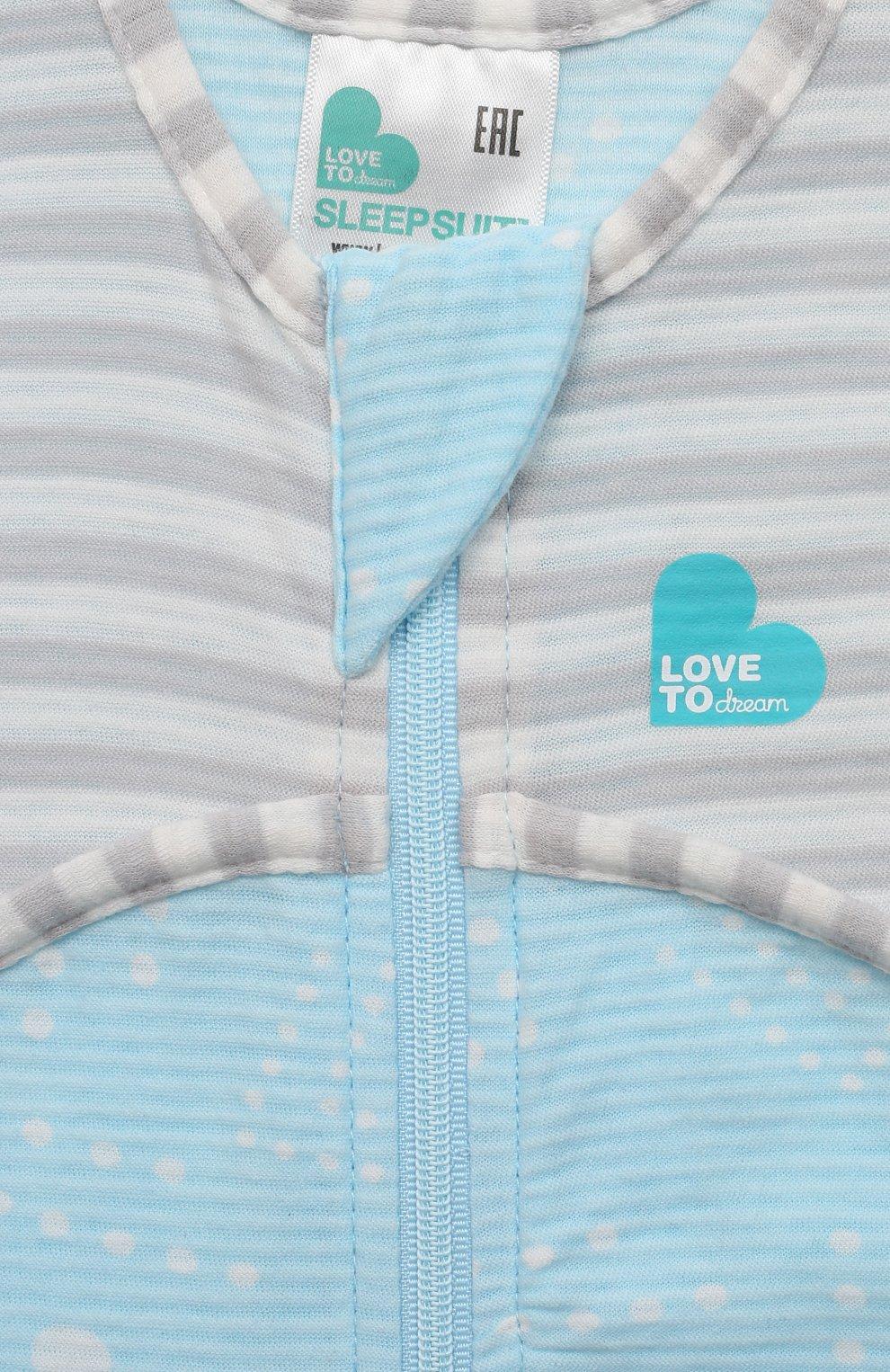 Детский хлопковый комбинезон LOVE TO DREAM голубого цвета, арт. L40 16 088 BLU 6M | Фото 3 (Рукава: Короткие; Материал внешний: Хлопок; Ростовка одежда: 6 мес | 68 см)