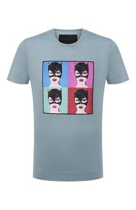 Мужская хлопковая футболка LIMITATO голубого цвета, арт. BUNNIES/T-SHIRT | Фото 1