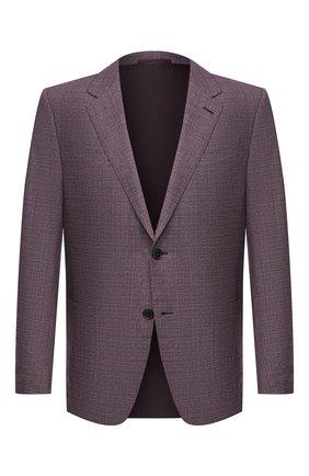 Мужской шерстяной пиджак ERMENEGILDO ZEGNA сиреневого цвета, арт. 951507/122520 | Фото 1