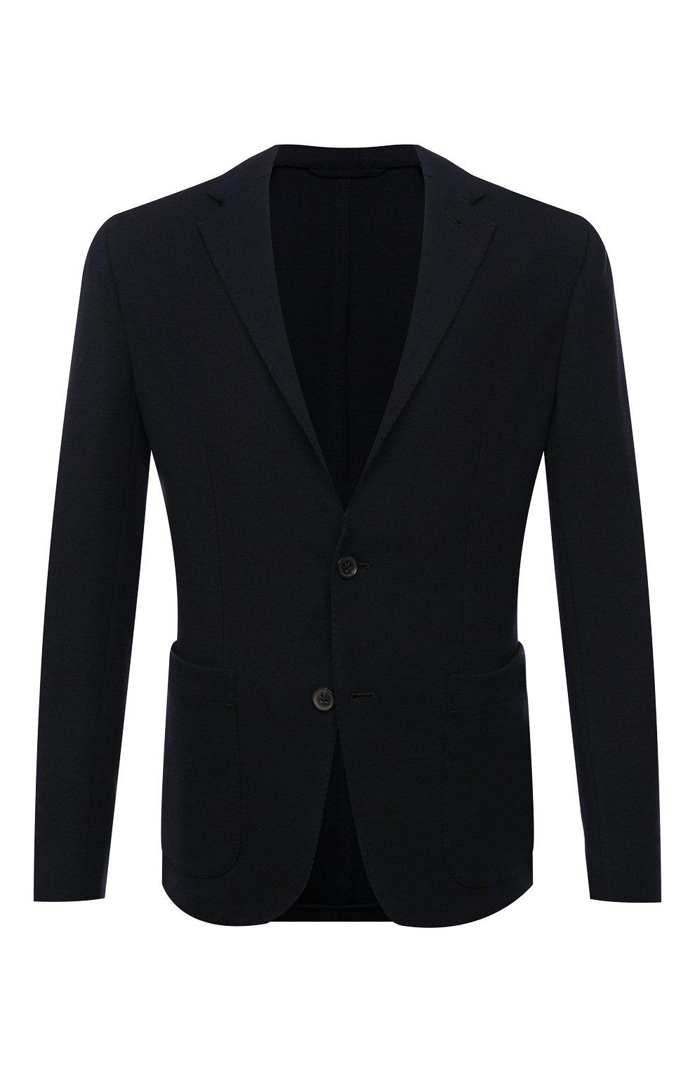 Мужской шерстяной пиджак ERMENEGILDO ZEGNA темно-синего цвета, арт. UWC60/SYF   Фото 1
