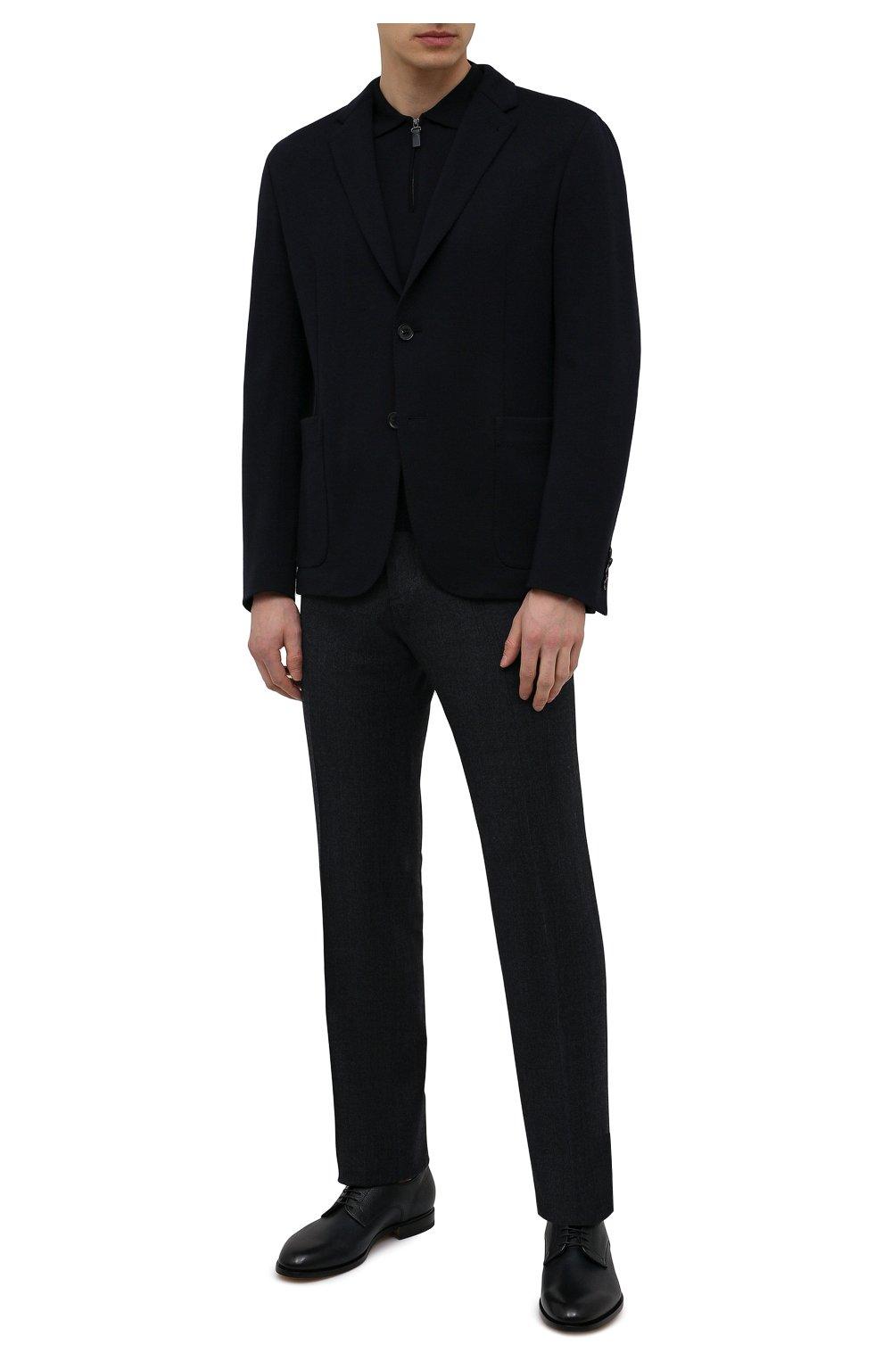 Мужской шерстяной пиджак ERMENEGILDO ZEGNA темно-синего цвета, арт. UWC60/SYF   Фото 2
