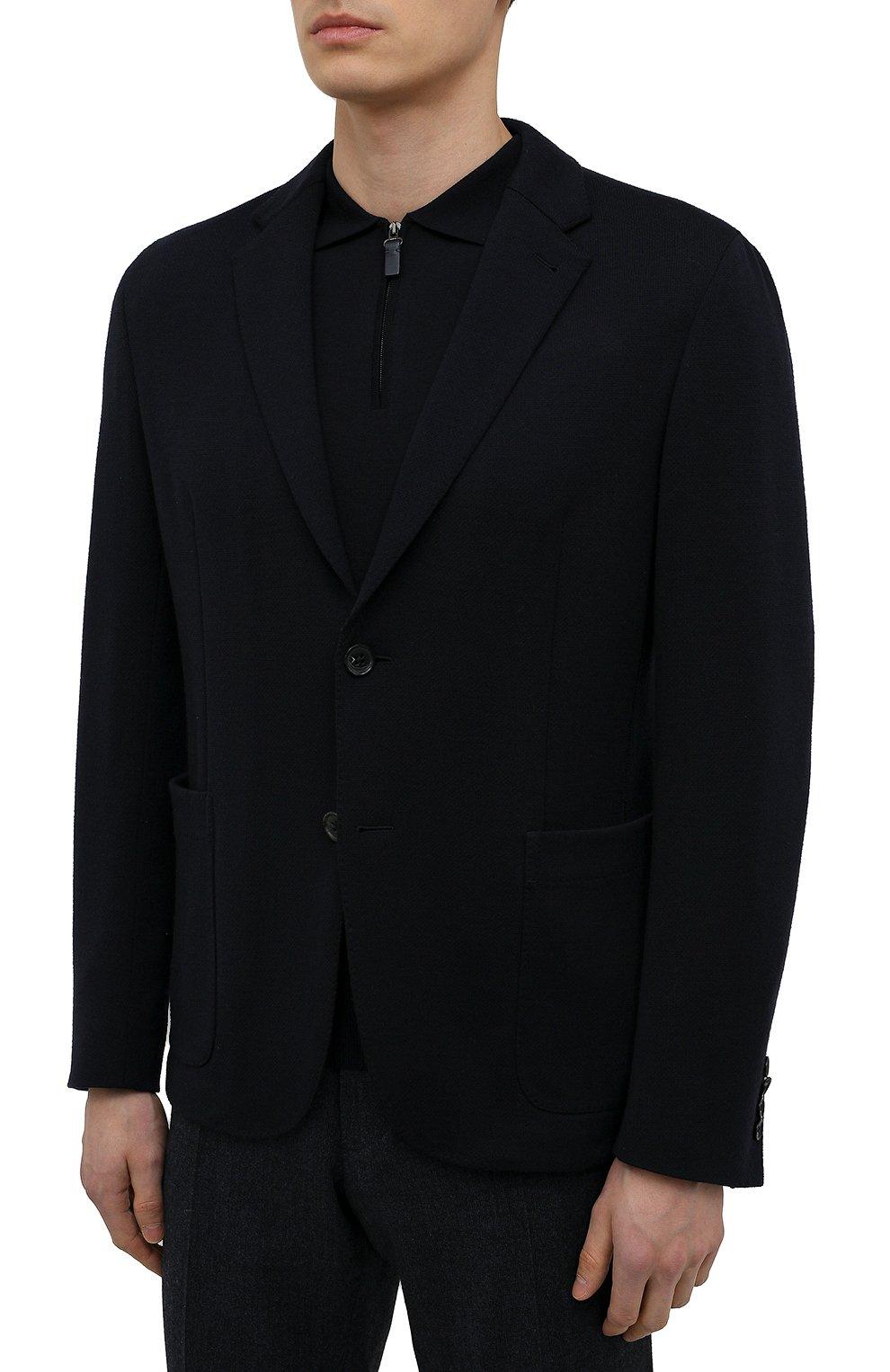 Мужской шерстяной пиджак ERMENEGILDO ZEGNA темно-синего цвета, арт. UWC60/SYF   Фото 3