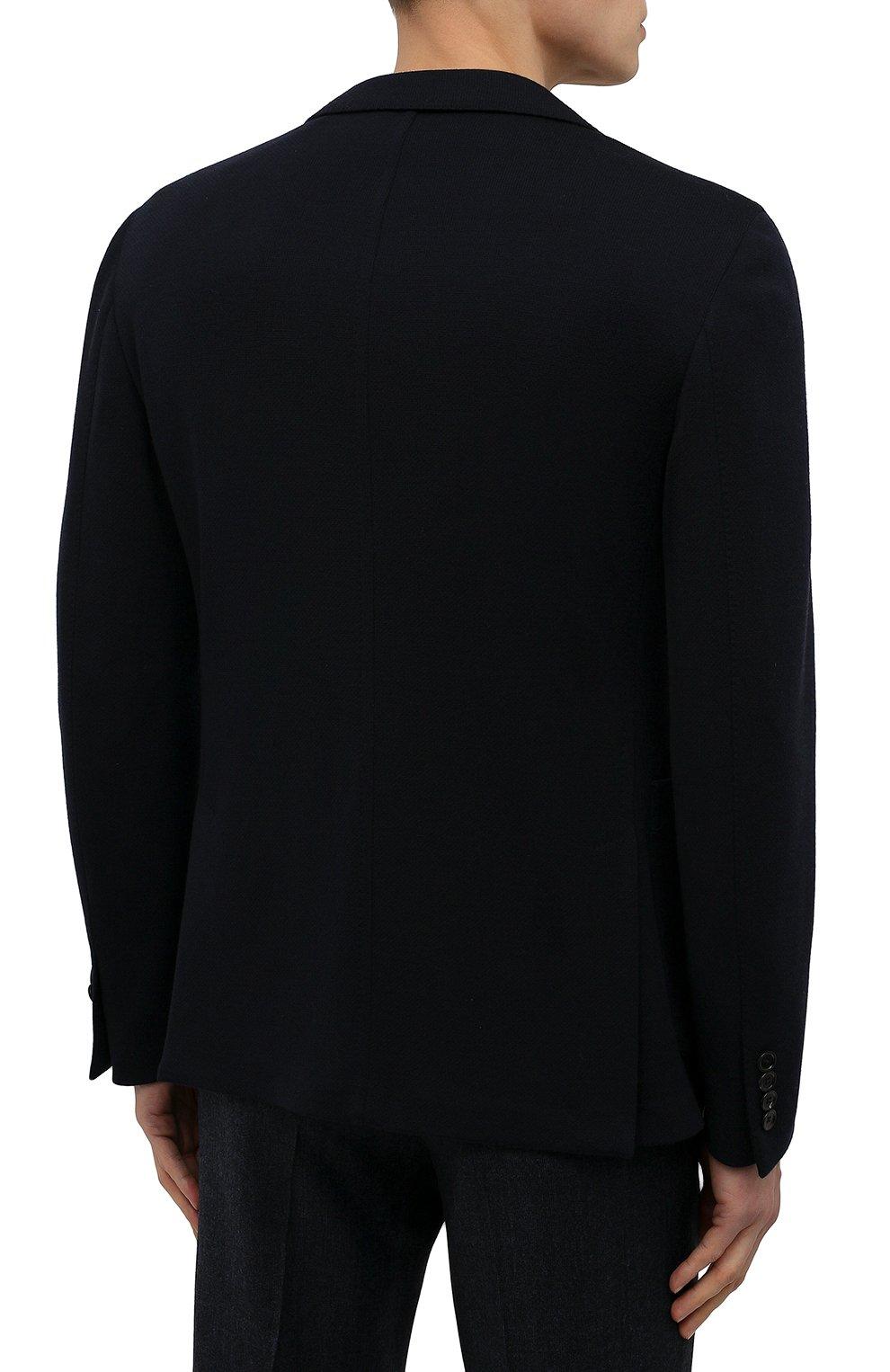 Мужской шерстяной пиджак ERMENEGILDO ZEGNA темно-синего цвета, арт. UWC60/SYF   Фото 4