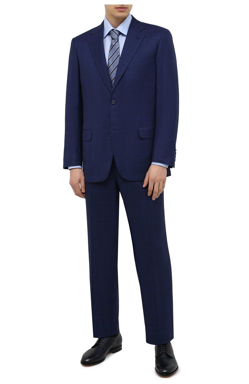 Мужской шерстяной костюм BRIONI синего цвета, арт. RAH00R/P0A2J/PARLAMENT0 | Фото 1 (Материал внешний: Шерсть; Рукава: Длинные; Костюмы М: Однобортный; Стили: Классический; Материал подклада: Купро)