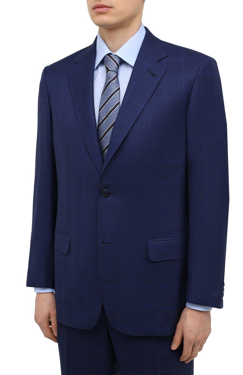 Мужской шерстяной костюм BRIONI синего цвета, арт. RAH00R/P0A2J/PARLAMENT0 | Фото 2 (Материал внешний: Шерсть; Рукава: Длинные; Костюмы М: Однобортный; Стили: Классический; Материал подклада: Купро)