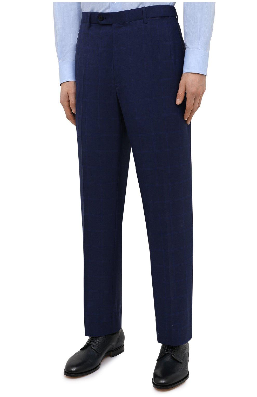 Мужской шерстяной костюм BRIONI синего цвета, арт. RAH00R/P0A2J/PARLAMENT0 | Фото 4 (Материал внешний: Шерсть; Рукава: Длинные; Костюмы М: Однобортный; Стили: Классический; Материал подклада: Купро)