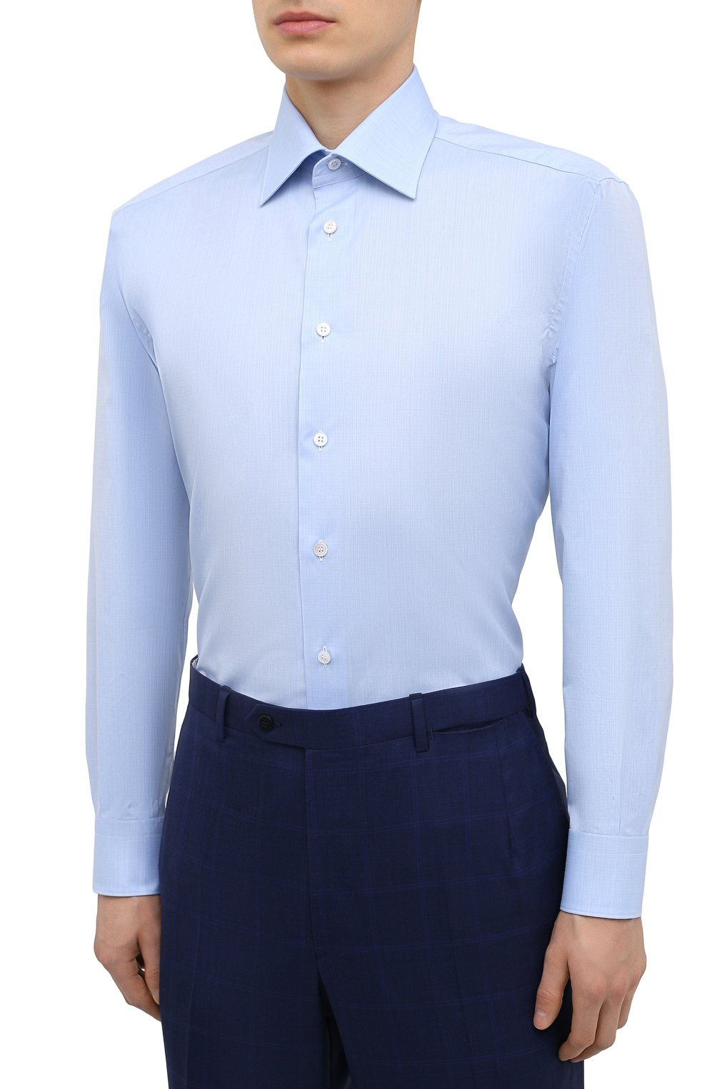 Мужская хлопковая сорочка BRIONI голубого цвета, арт. RCA20N/P007U   Фото 3