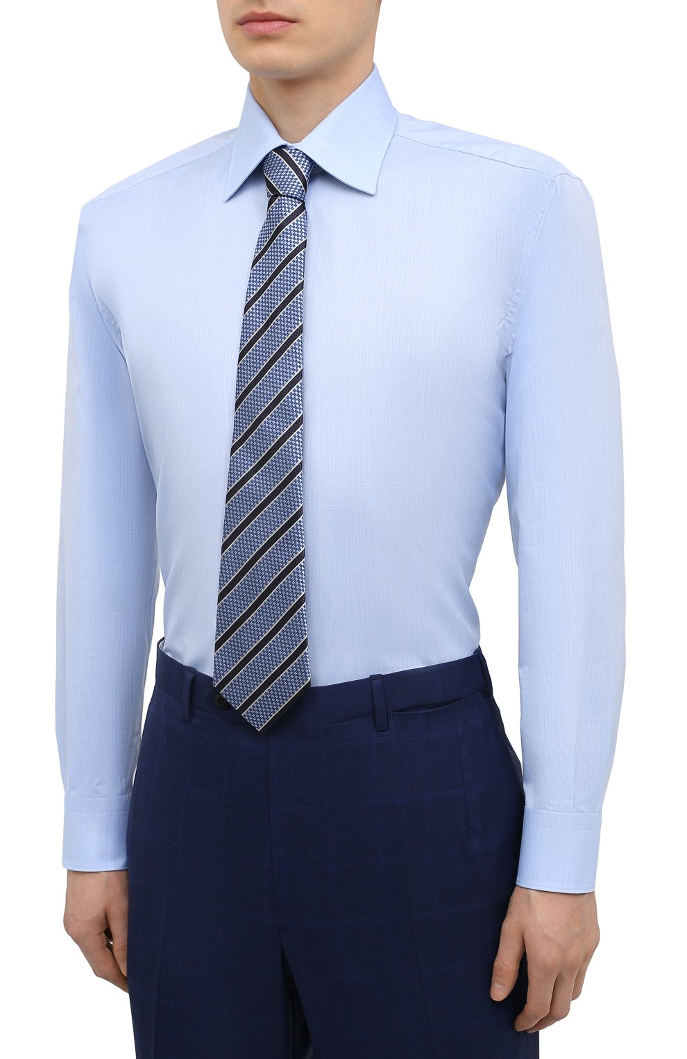 Мужская хлопковая сорочка BRIONI голубого цвета, арт. RCA20N/P007U   Фото 4
