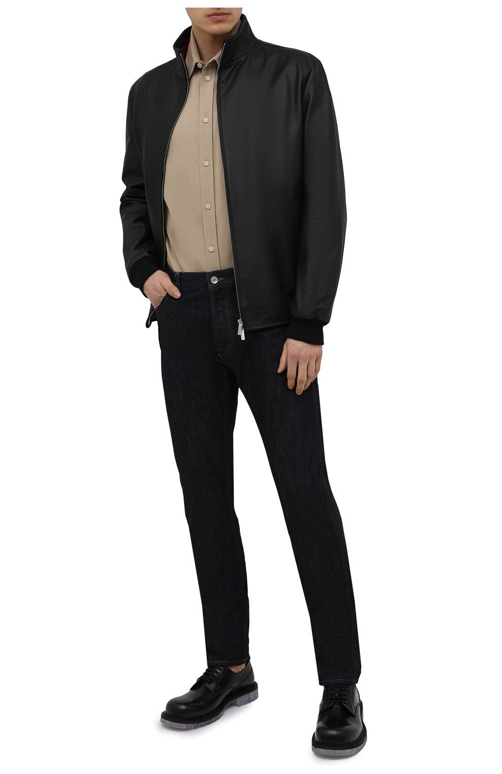 Мужской кожаный бомбер KITON черного цвета, арт. UW0911MV07T83   Фото 2