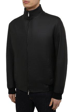 Мужской кожаный бомбер KITON черного цвета, арт. UW0911MV07T83   Фото 3