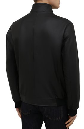 Мужской кожаный бомбер KITON черного цвета, арт. UW0911MV07T83   Фото 4
