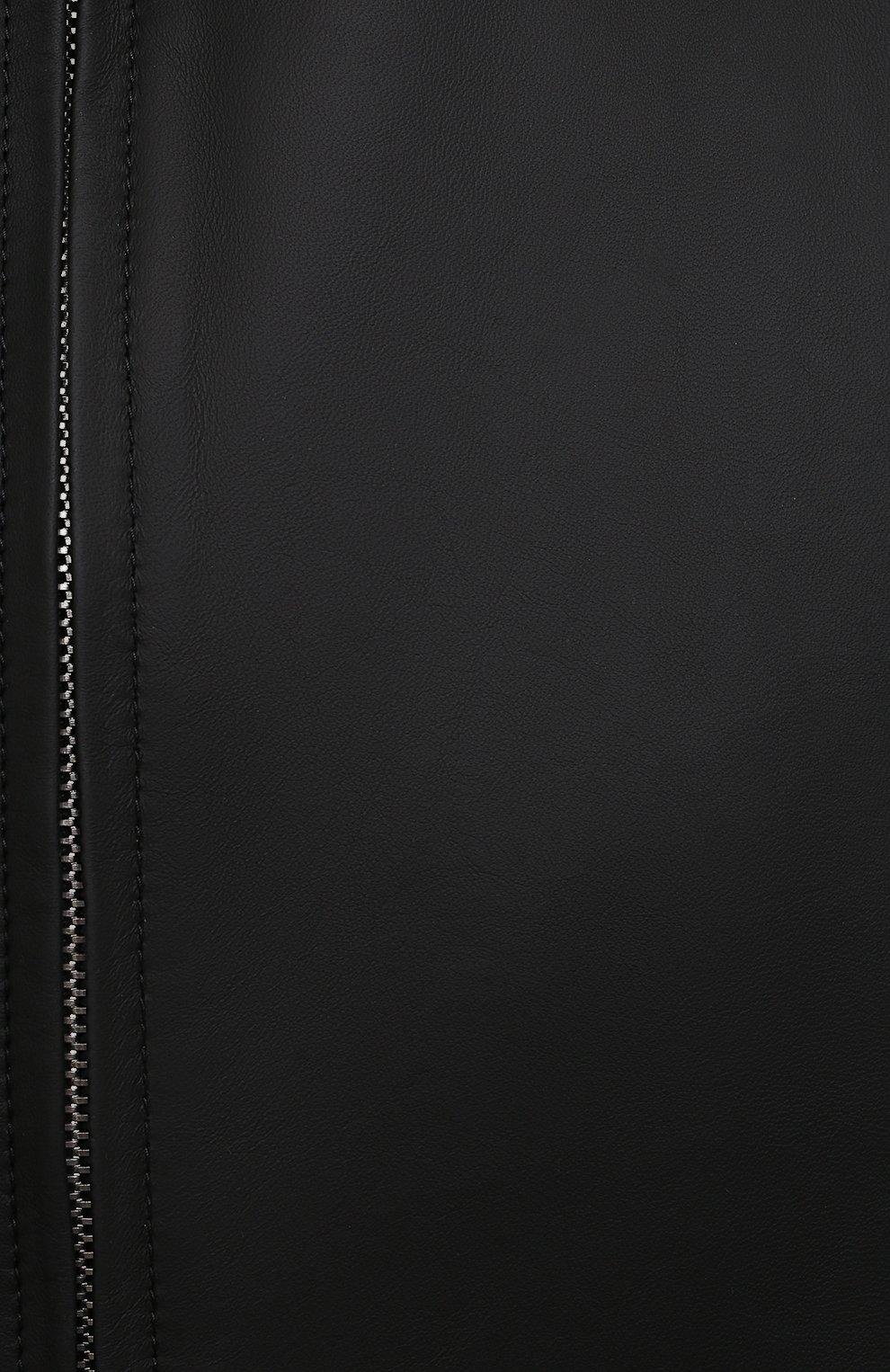 Мужской кожаный бомбер KITON черного цвета, арт. UW0911MV07T83   Фото 5