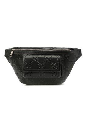 Мужская кожаная поясная сумка GUCCI черного цвета, арт. 645093/1W3CN | Фото 1 (Материал: Натуральная кожа)