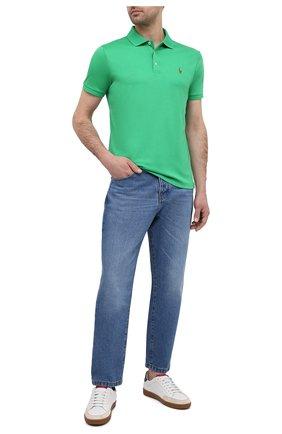 Мужское хлопковое поло POLO RALPH LAUREN зеленого цвета, арт. 710704319 | Фото 2 (Кросс-КТ: Трикотаж; Застежка: Пуговицы; Рукава: Короткие; Стили: Кэжуэл; Длина (для топов): Стандартные; Материал внешний: Хлопок)