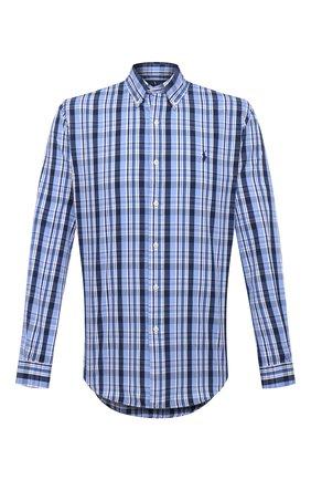 Мужская хлопковая рубашка POLO RALPH LAUREN синего цвета, арт. 710833806/5326   Фото 1