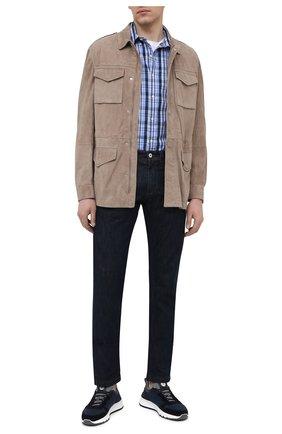 Мужская хлопковая рубашка POLO RALPH LAUREN синего цвета, арт. 710833806/5326   Фото 2