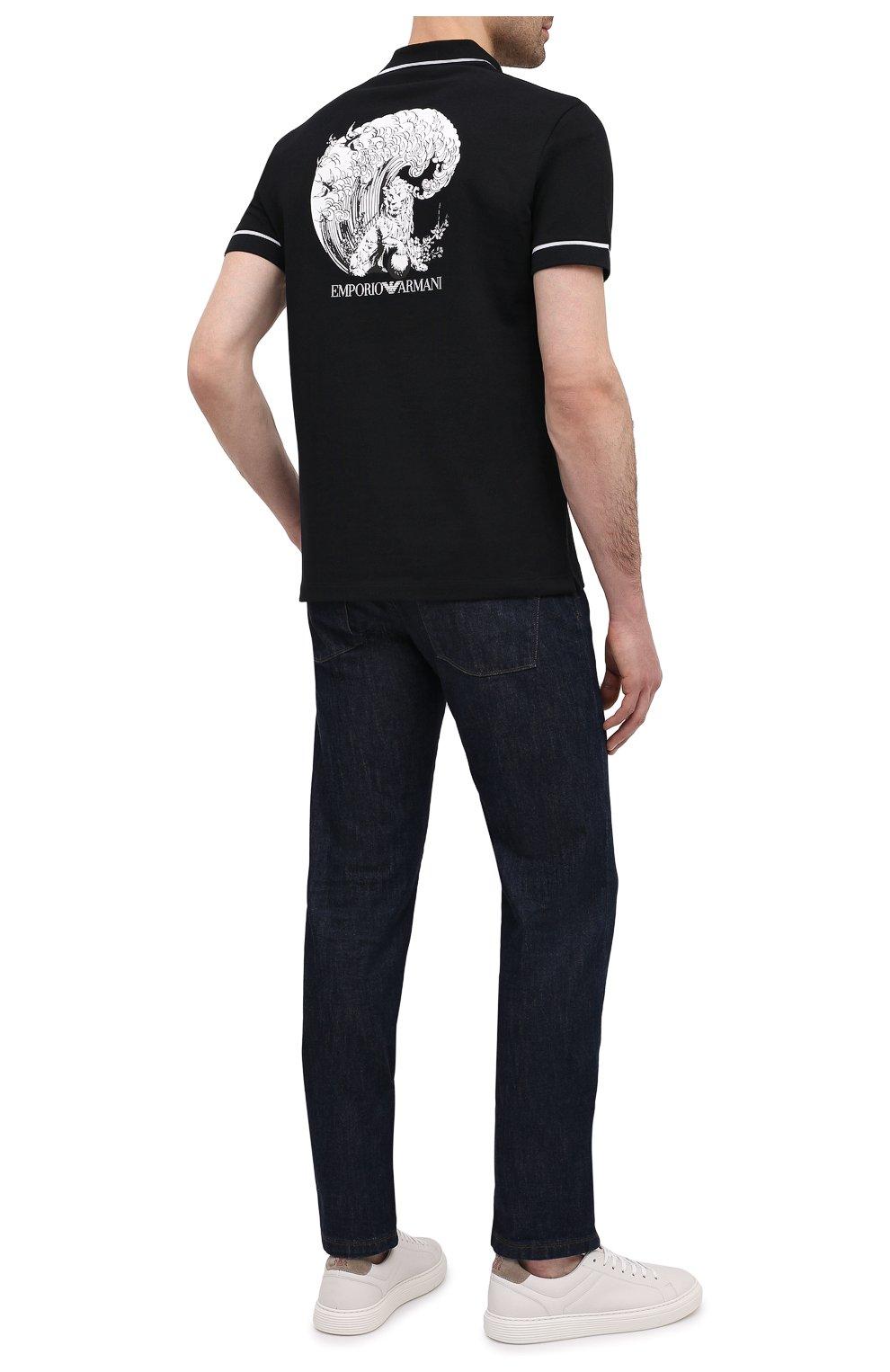 Мужское хлопковое поло EMPORIO ARMANI черного цвета, арт. 3K1F8P/1JM2Z | Фото 2 (Застежка: Пуговицы; Рукава: Короткие; Длина (для топов): Стандартные; Материал внешний: Хлопок; Стили: Кэжуэл)
