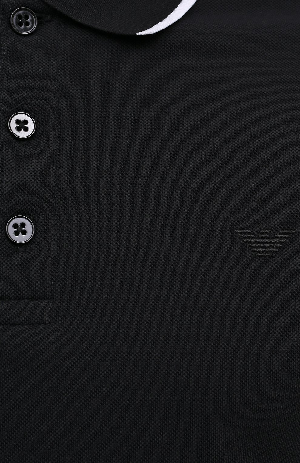 Мужское хлопковое поло EMPORIO ARMANI черного цвета, арт. 3K1F8P/1JM2Z | Фото 5 (Застежка: Пуговицы; Рукава: Короткие; Длина (для топов): Стандартные; Материал внешний: Хлопок; Стили: Кэжуэл)
