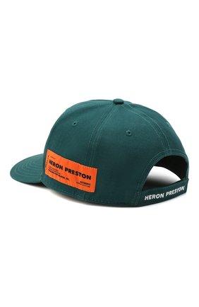 Мужской хлопковая бейсболка HERON PRESTON зеленого цвета, арт. HMLB006R21FAB0025701 | Фото 2