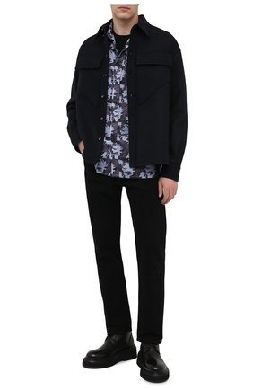 Мужская рубашка KNT серого цвета, арт. UCK0104H0772205 | Фото 2 (Рукава: Длинные; Манжеты: На пуговицах; Стили: Кэжуэл; Случай: Повседневный; Материал внешний: Синтетический материал; Принт: С принтом; Воротник: Кент; Длина (для топов): Стандартные)