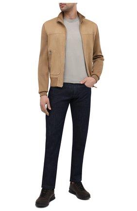Мужской комбинированный кардиган TOM FORD бежевого цвета, арт. BWM2H/TFK157 | Фото 2 (Длина (для топов): Стандартные; Рукава: Длинные; Мужское Кросс-КТ: Кардиган-одежда; Материал внешний: Шерсть; Стили: Кэжуэл)