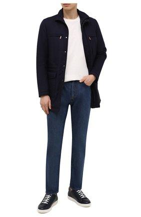 Мужские кожаные кеды KITON темно-синего цвета, арт. USSSUITN00126 | Фото 2 (Материал внутренний: Натуральная кожа; Подошва: Массивная)