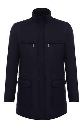 Мужская куртка из шелка и кашемира KITON темно-синего цвета, арт. UW0891MV07T80 | Фото 1