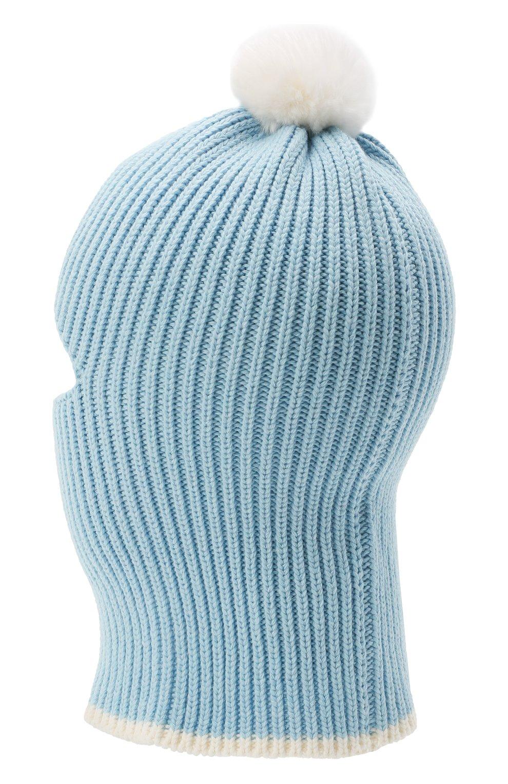 Детского хлопковая шапка-балаклава CHOBI голубого цвета, арт. WH-3012   Фото 2 (Материал: Текстиль, Синтетический материал, Хлопок)