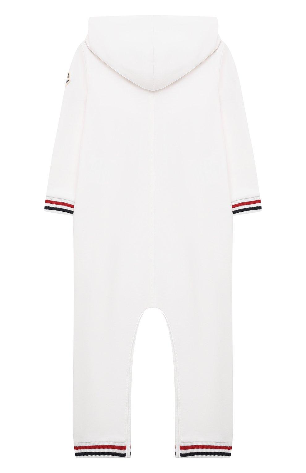 Детский хлопковый комбинезон MONCLER белого цвета, арт. G1-951-8L723-00-899AR   Фото 2