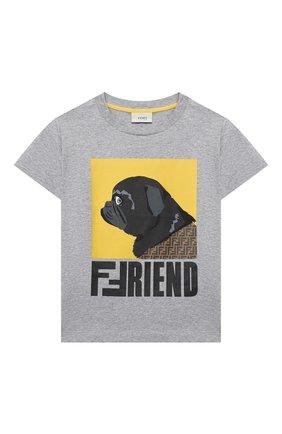 Детская хлопковая футболка FENDI серого цвета, арт. JUI025/7AJ/3A-6A | Фото 1