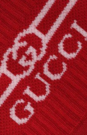 Детские хлопковые носки GUCCI красного цвета, арт. 627636/4K428 | Фото 2