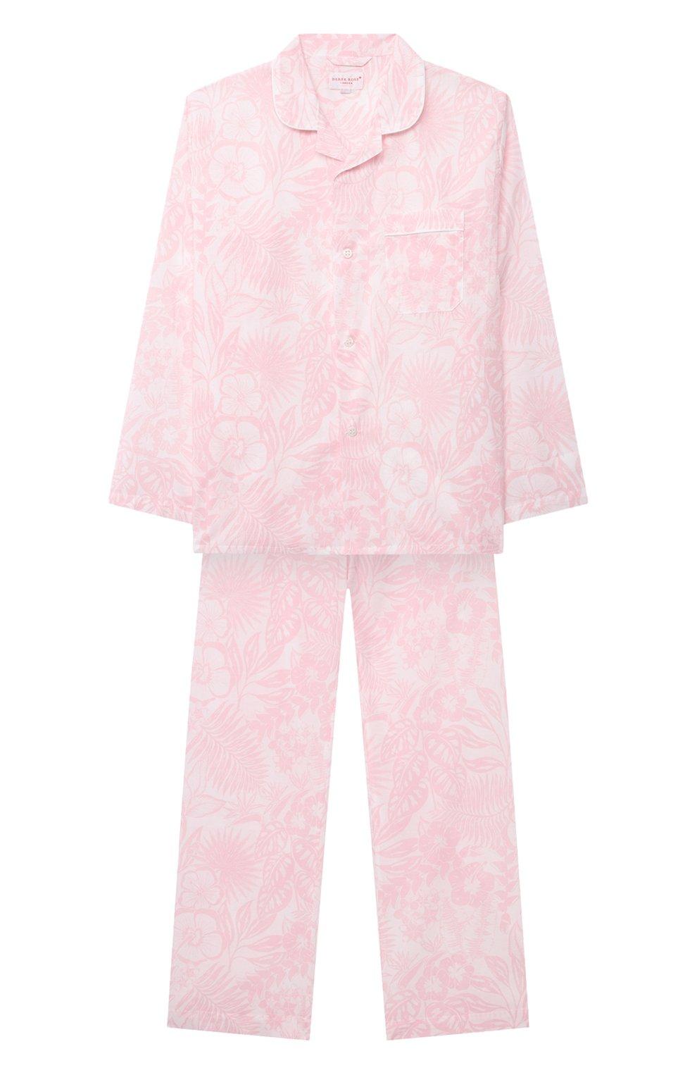 Детская хлопковая пижама DEREK ROSE розового цвета, арт. 7025-LEDB042/3-12 | Фото 1